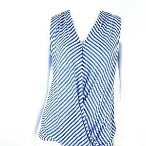 Crémieux Blue Ivory Stripe Wrap Top